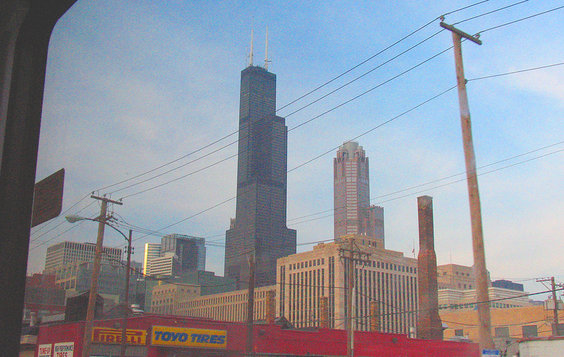 COming into Chicago - fromthe bus window