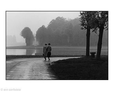 Rainy day at the gardens of Versailles