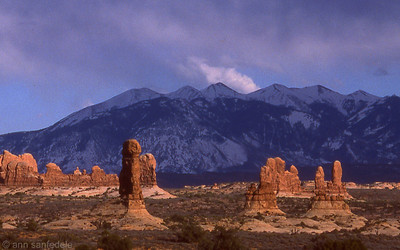 Windows District and the La Salle Mountains at Arches National park, Utah