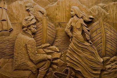 Musee de sculpture #2, Musee de sculptures sur bois des Anciens Canadiens, Saint-Jean-Port-Joli, Quebec, Canada.