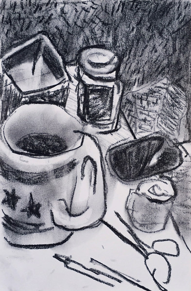 """Still life over coffee"" - charcoal on paper - 2015"