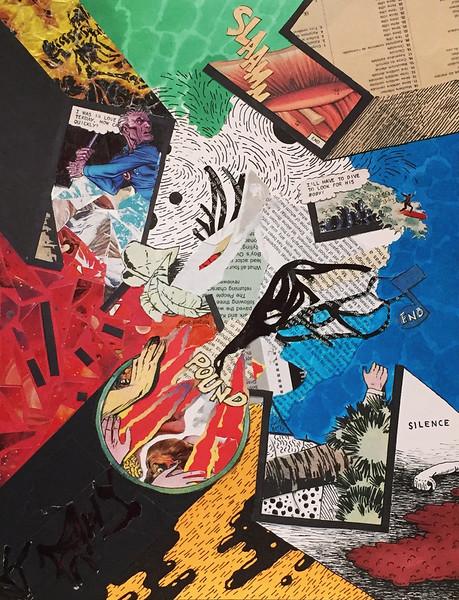 """Slaamm"" - Ink on collaged paper - 2015"