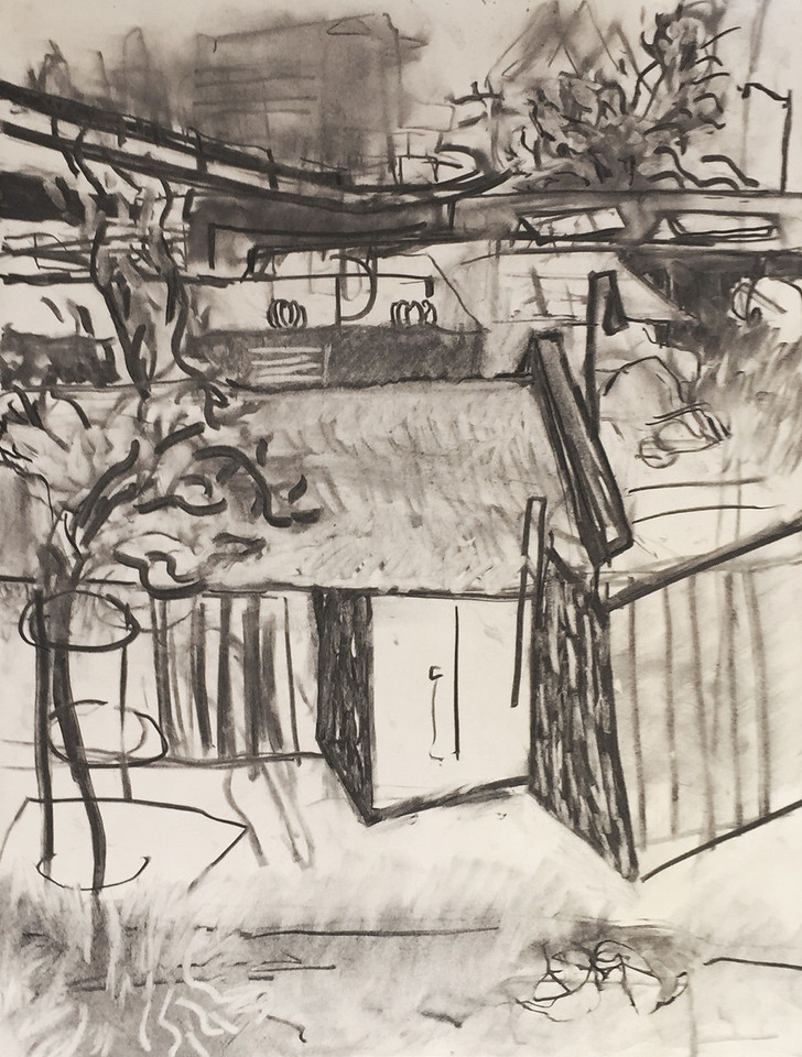 """23rd street"" - Charcoal on newsprint - 2015"
