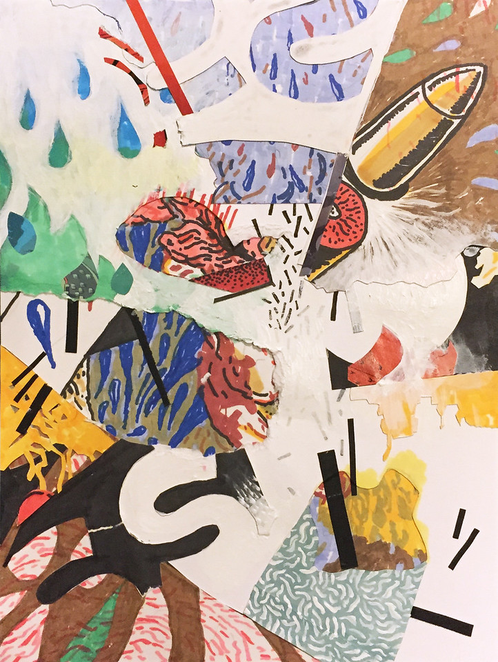 """""""Western movies"""" - Acrylic, ink on collaged paper"""