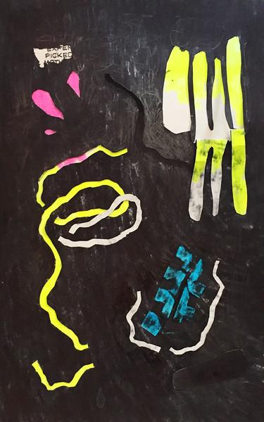"""Bring to a boil, stir often"" - Ink on collaged paper - 2015"
