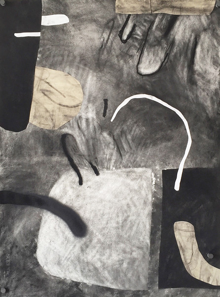 """""""Still life"""" - Charcoal, spray paint on collaged paper - 2015"""