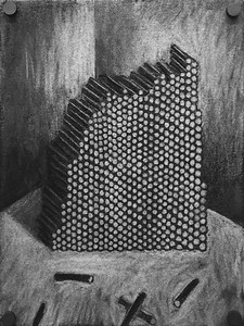 """A pile of cylinders"" - Charcoal on paper - 2015"