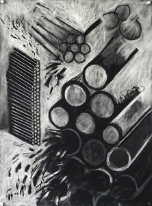 """Drawing straws"" - Charcoal from apartment fire on paper - 2015"