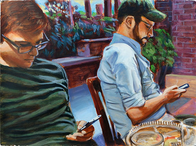 Texting Men; acrylic on paper, 22 x 30 in, 2020