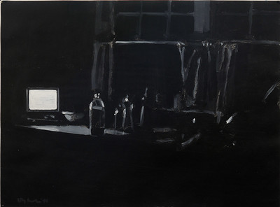 Night still life - kitchen; acrylic on paper, 22 x 30 in, 1990