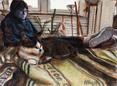 Cat and woman; acrylic on paper, 22 x 30 in, 2018