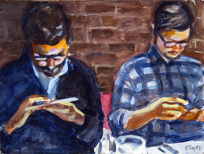 Texting men (NYC series); acrylic on paper, 22 x 30 in, 2017