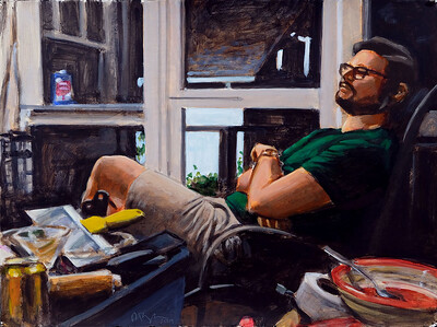 Man on porch, acrylic on paper, 22 x 30 in, 2019