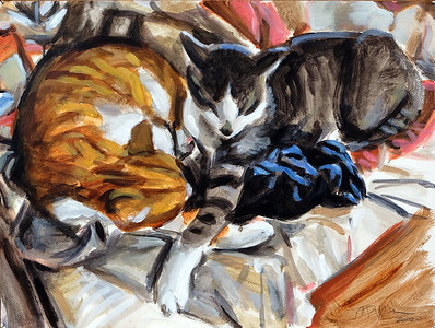 Sleeping Cats, acrylic on paper, 18 x 24 in, 2020