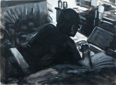 Programming man (b/w); acrylic on paper, 22 x 30 in, 2020