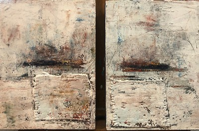 """Oil and cold wax diptych - 24 x 16"""" on two panels"""