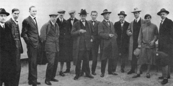 The Bauhaus masters on the roof of the new Bauhaus building, 1926 (Gunta is the only woman in the photograph)