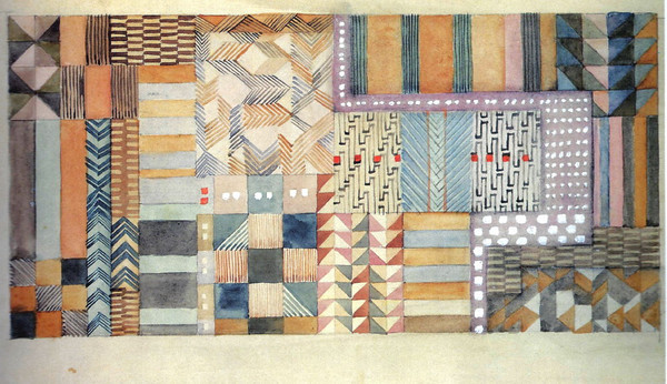 Design for a fabric in Jacquard technique 1927 18.5x37.5 cm Private collection