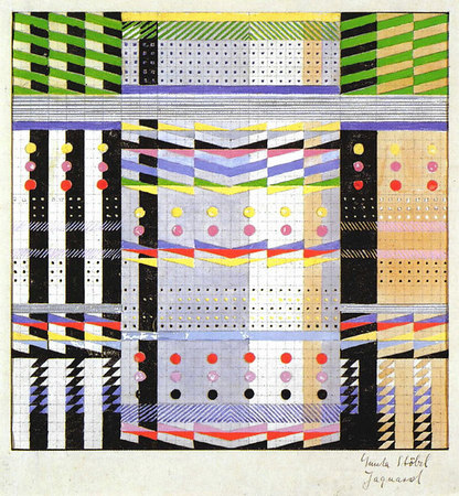Design for a Jacquard woven wall hanging 1928/29 Mounted on cardboard and signed lower right: 'Gunta Stölzl Jacquard' 27.3x26.7 cm Victoria & Albert Museum, London