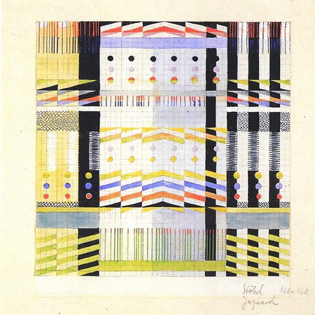 Design for a Jacquard woven wall hanging 1928/29 Mounted on cardboard and inscribed  lower right: 'Stölzl Jacquard 160 x 160' 24x23.8 cm Victoria & Albert Museum, London