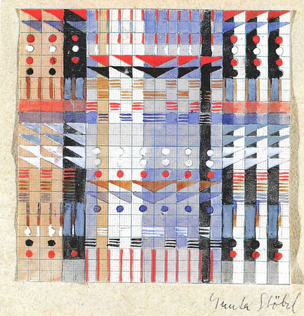 Design for a Jacquard woven wall hanging ca. 1927 Signed 'Gunta Stölzl' 12x12 cm Victoria & Albert Museum, London