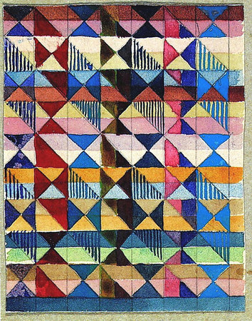 Design for a Jacquard woven textile Mounted on cardboard, and inscribed 'Jacquardentwürfe G. Stölzl 1927 Dessau' (on the same mount as previous design) 9.5x7.5 cm The J. Paul Getty Museum, Malibu, Ca.