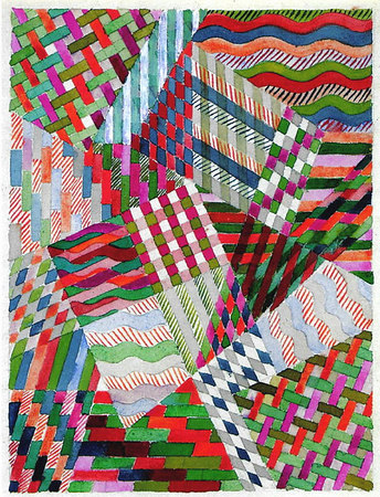 "Design for a detail of   ""Slit Tapestry Red-Green""   1927/28   31x24 cm  Private collection"