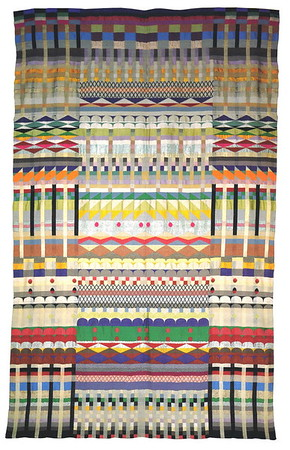 "Jacquard wall hanging ""5 Chöre"" (5 Choirs) 1928 Cotton, wool, rayon and silk 229 x 143 cm  Museum für Kunst und Kulturgeschichte  der Hansestadt Lübeck  This stunning example of Jacquard weaving was acquired by the Museum in 1929 on the occasion of a Bauhaus exhibition"
