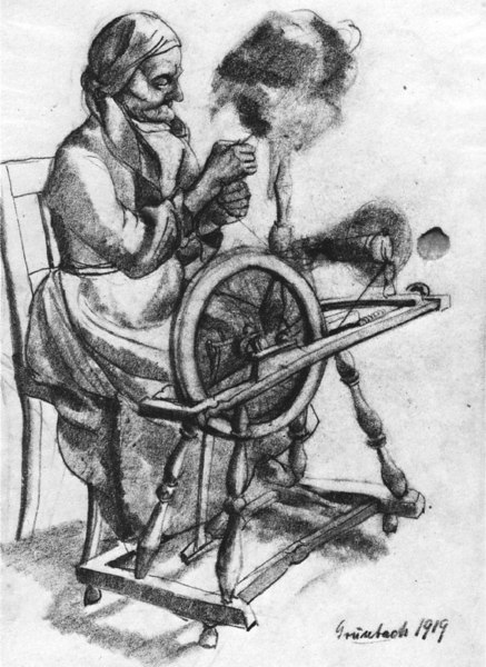 """Old woman at spinning <br /> Bottom right: """"Grünbach 1919""""<br /> 28.9x20.6 cm<br /> Private collection"""