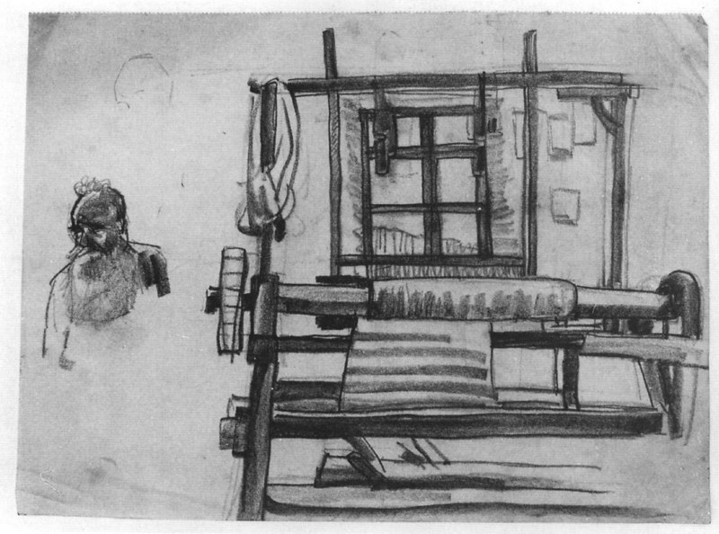 Old weaver and his loom<br /> Undated<br /> 21.3x28.7 cm<br /> Private collection