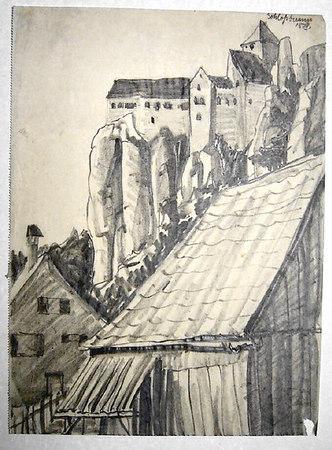 Upper right: 'Schlossbrunn 15.IV'<br /> <br /> <br /> 28.7x21.3 cm