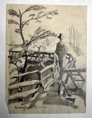 "Bischoflack November 29th, 1917<br /> <br /> This bridge in present day Skofja Loka still existed in 1999.<br /> It is called ""Devil's Footbridge"""