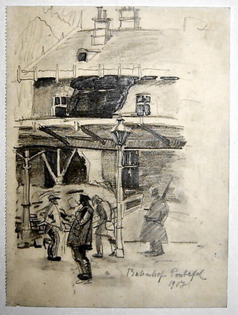"""Bahnhof Pontafel 1917<br /> <br /> The place """"Pontafel"""" is the present day """"Ponteba""""<br /> Reference to this train station is found in her war diary on page 32.<br /> <br /> 22x16.5cm"""