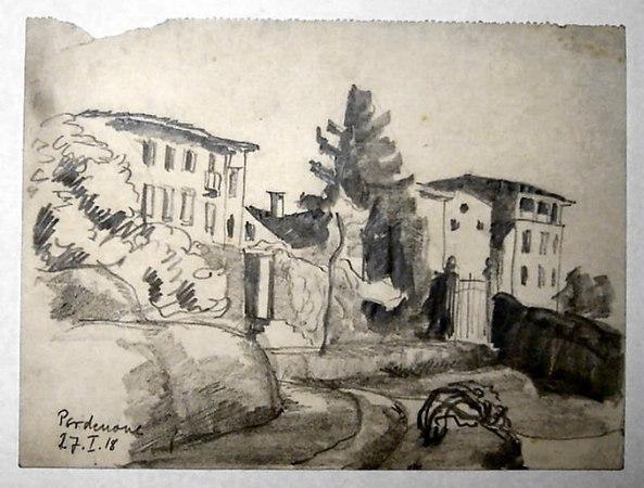 Pordenone January 27th, 1918<br /> <br /> 16.5x22cm