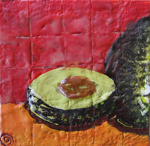"2007 5"" x 5"" encaustic on board"
