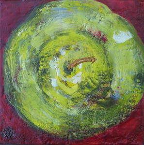 "2007 6"" x 6"" encaustic on board"