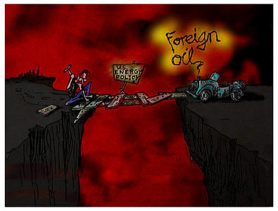 """Foreign Oil""   (political cartoon - ink on paper w/digital coloring)"