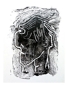 """Shom""  (monotype - ink on glass)"