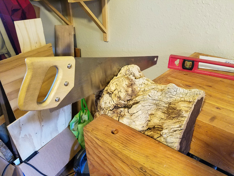 I started this project with a chunk of desert ironwood I picked up at a garage sale. This stuff is super cool because it's super dense, and is really heavy. It even sinks when placed in water. I figured it was perfect for a mallet, and since the one I'd been using was just a slice of an alder with an end whittled down for a handle, I was definitely due.