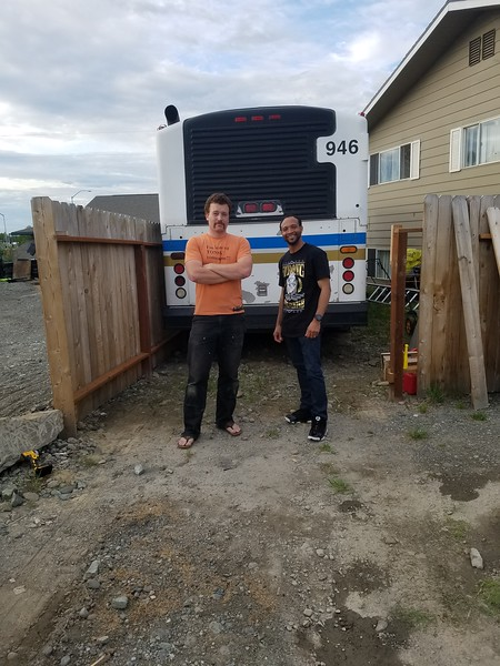 After shelling out the cash for our future home and with some help from my buddy Carlos we made a couple minor fence modifications and squeezed this thing into the side yard. This is a 1994 Gillig Phantom bus that's been used by the city of Fairbanks. It's got 135,000 miles to start with, and our goal is to build it into a beautiful tiny house and move into it, and then head south.
