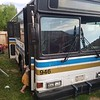Here's the front view of the bus where it sits while we build it out. This is a 1994 Gillig Phantom bus that's been used by the city of Fairbanks. It's got 135,000 miles to start with, and our goal is to build it into a beautiful tiny house and move into it, and then head south.