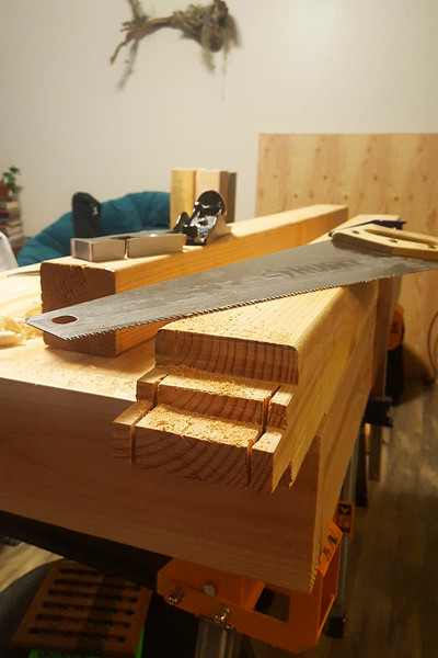 Cutting all these tenons made me dislike end grain cuts. Maybe it's easier on smaller dimensions, but I spent a few hours with the hand saw, clamping the boards to the bench and working on cutting straight lines over and over and over. Improvement is a big part of the drive behind this project!