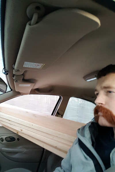 I started this project (after the planning phase of course) like any good Valley resident, and brought home a bunch of eight foot 2x6s sticking out the window of my car. Somebody had to document this, of course.
