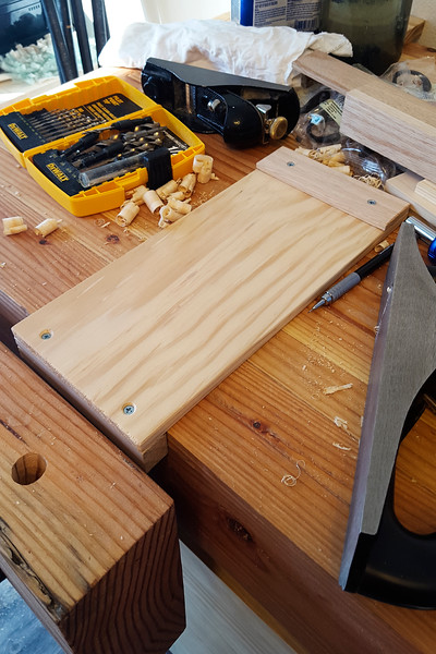 Another quick accessory for the bench is this bench hook, which went together pretty quickly and easily, and got a coat of boiled linseed oil and some detailed corner beveling as well.