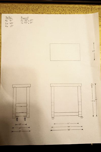 I drew up a bit of a plan to get some numbers written down. It's picking up more and more details as the project progresses, but this is the general layout of the body of the bench. I went through several designs for a system that would lift up onto wheels when desired, but sit solidly on the legs for working, and settled on this one with a sliding tenoned bar underneath the main bar on each side, with wheels mounted to that and a jacking system (yet to be drawn in) in the space between the two. Still working on designing the jack.