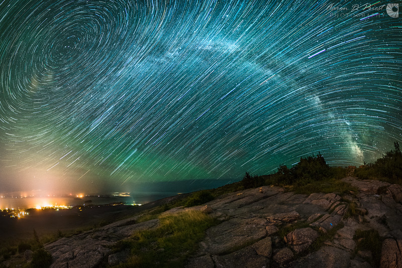 Airglow and Star Trails over Cadillac Mountain – Crop