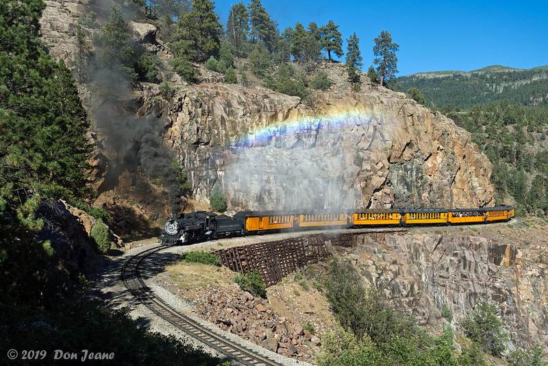 Durango & Silverton RR, Horseshoe Curve. Blowing out steam - created a small rainbow. 09/22/2019.