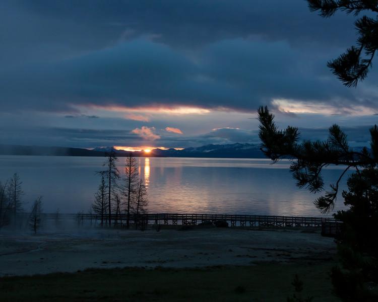 First light across Yellowstone Lake