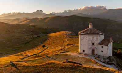 Santa Maria della Pietà and Campo Imperatore at sunset