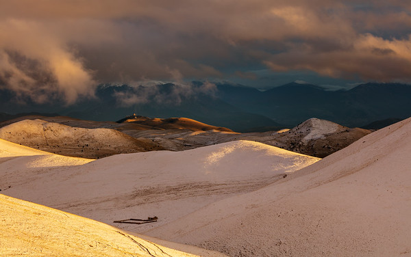 Campo Imperatore in snow in afternoon light